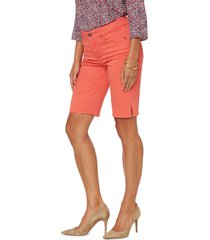 women's nydj briella side slit bermuda shorts, size 18 - coral