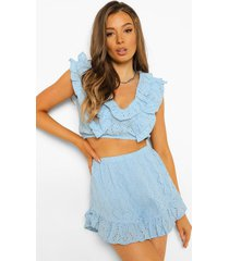 broderie top met ruches en shorts, powder blue