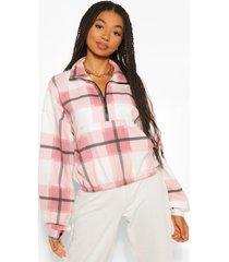 geruite sweater met korte rits en zak detail, pink