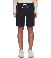 norton' contrast drawstring waist cotton blend shorts