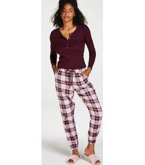 hunkemöller rutiga pyjamasbyxor twill röd