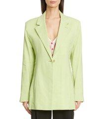 women's jacquemus tablier back tie hemp & wool blend blazer