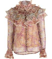 spliced jacobean lucky tiered blouse