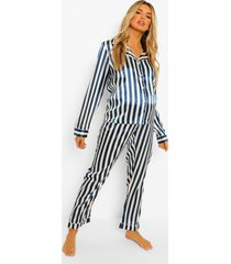 zwangerschap satijnen pyjama set met krijtstrepen, navy