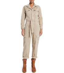 women's mother the cargo fixer long sleeve jumpsuit, size large - beige