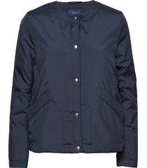 o2. collarless padded jacket gevoerd jack blauw gant