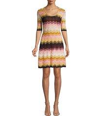 lurex-knit cheveon flare dress