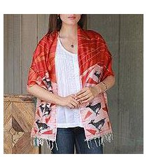 hand painted silk shawl, 'rhythm' (india)