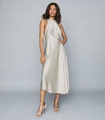 reiss rita - halterneck satin midi dress in silver, womens, size 14