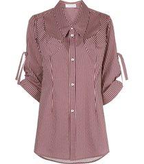 delada striped mid-length shirt - red