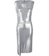 metallic draped midi dress