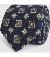 reiss arezzo - wool medallion tie in navy, mens