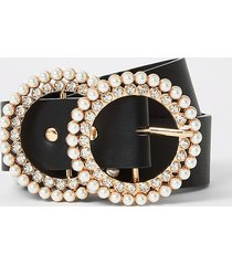 river island womens black pearl and diamante double ring belt