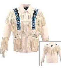 new men's cream western cowboy leather jacket with fringe bone eagle beads