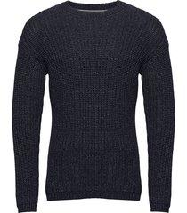 pullover stickad tröja m. rund krage blå marc o'polo