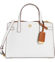 tory burch small walker leather satchel - white