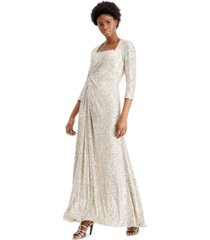 calvin klein square-neck sequined twist-front gown