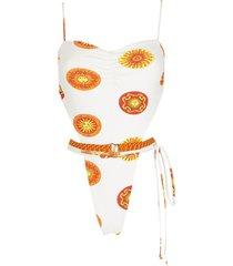 amir slama print sol high-leg swimsuit - white