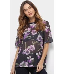 blusa tela colcci floral manga curta feminina