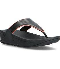 lulu pop binding toe-post sandals shoes summer shoes flat sandals svart fitflop