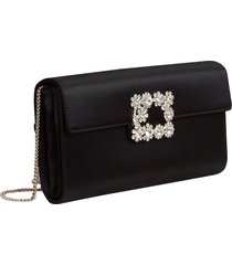 roger vivier flower buckle satin clutch bag black
