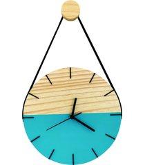 relógio de parede minimalista azul com alça