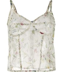 r13 corset translúcida com estampa floral - neutro