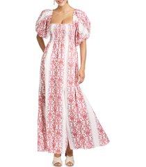 women's sachin & babi balloon sleeve cotton maxi dress, size medium - red