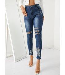 detalles rasgados aleatorios casuales jeans