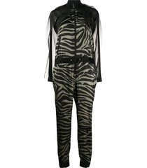 sacai sheer tiger stripe jumpsuit - green
