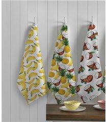 kit panos de prato teka primore tropical 40cm x 65cm 3 peã§as - multicolorido - dafiti