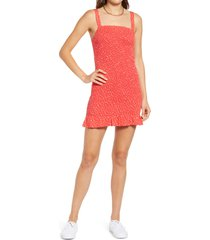 bp. smocked tank dress, size large in red kyla bouquet at nordstrom