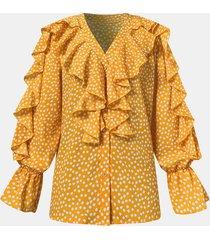 camicetta casual da donna a maniche lunghe con scollo a v e bottoni con stampa a pois
