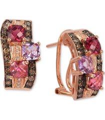 le vian multi-gemstone (1-3/4 ct. t.w.) & diamond (3/8 ct. t.w.) hoop earrings in 14k rose gold