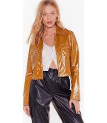 womens stitch an idea vinyl cropped jacket - mustard