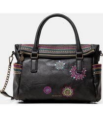 embroidered briefcase bag - black - u