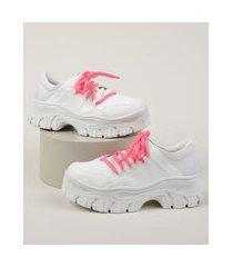 tênis chunky feminino oneself com cadarço neon branco