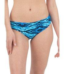 nine west women's scoop printed bikini bottom - blue tiger - size l