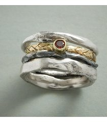 braided garnet ring