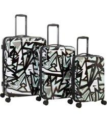 body glove inner city 3 piece hardside spinner luggage set