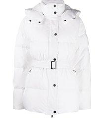 12 storeez belted padded coat - white