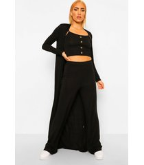 hemdje, broek en duster jas set, black