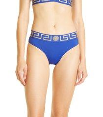 women's versace greca border bikini bottoms, size 5 - blue