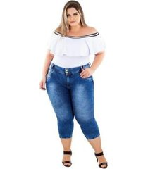 calça jeans latitude plus size cropped deuseline feminina