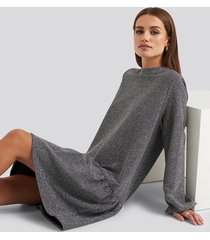 na-kd party lurex high neck balloon sleeve mini dress - silver
