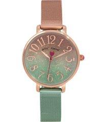 betsey johnson women's gradient dial colored gradient stainless steel mesh bracelet watch 36mm