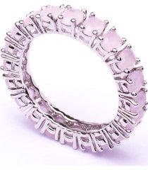 aliança boca santa em zircônias oval quartzo rosa - ouro branco