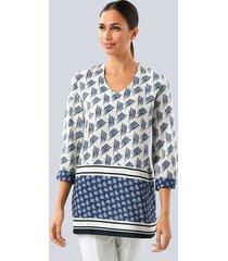 blouse alba moda navy/wit