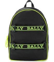 bally logo-tape buckle-detail backpack - black