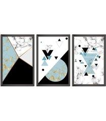 conjunto kit 3 quadro oppen house s 60x120cm escandinavo loen com vidro e moldura preta      quadro oppen house s decorativos - preto - dafiti